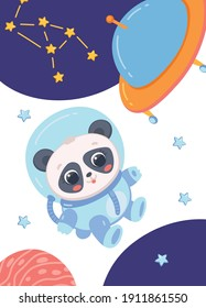 Poster with funny panda astronaut in space suit floating in open space, flat vector illustration. Cartoon cute panda bear cosmonaut and space explorer.