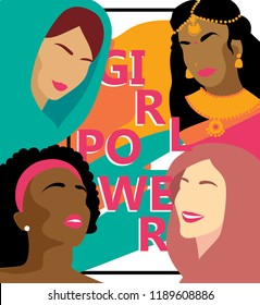 Poster for girl power with women different nations, can be used as card for women's day, vector illustration