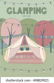 Poster with glamping.. Hand drawn, cute illustration. Pink and green color theme.