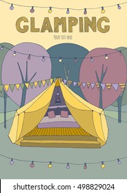 Poster with glamping.. Hand drawn, cute illustration. Yellow and purple color theme.