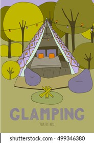 Poster with glamping. Hand drawn, cute illustration. Purple and green color theme.