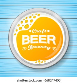 Poster with a glass of beer on blue wooden background. Vector.