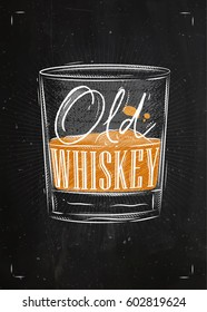 Poster glass lettering old whiskey drawing with chalk and color on chalkboard background