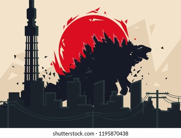 Poster for Godzilla in simple vector form.