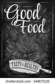Poster good food with frying pan where ingridients fly, drawing with chalk on blackboard.