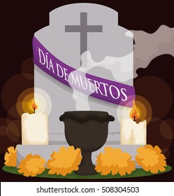 """Poster with grave decorated according to the Mexican tradition of """"Dia de Muertos"""" (Spanish for """"Day of the Dead""""): marigold flowers, candles and copal's incense in ceramic censer."""