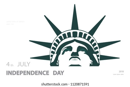 Poster. Green Linear Picture. Independence Day, USA. Statue of Liberty, book. 2018. National Symbol of America. Illustration,white, background. Use presentations, corporate reports, text, postcards,v
