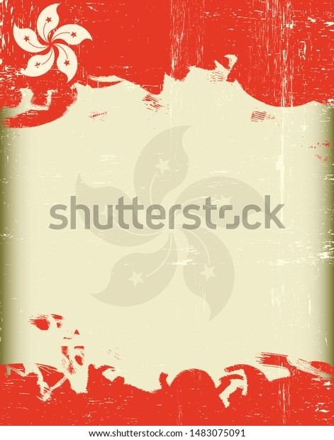 Poster of a grunge hongkong flag with a frame for your message