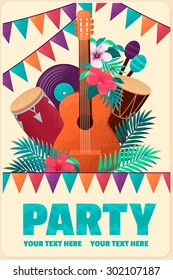 Poster with guitar, percussion and conga drums, maracas, vinyl records, flags, palm leaves and hibiscus flowers. Can be used as card, flyer or invitation. Place for your text