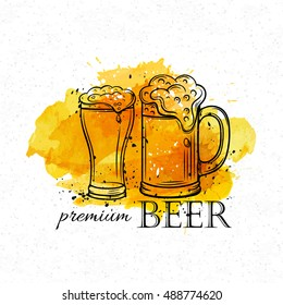 Poster hand drawn beer mugs on a yellow watercolor background. Vector illustration in old ink style.