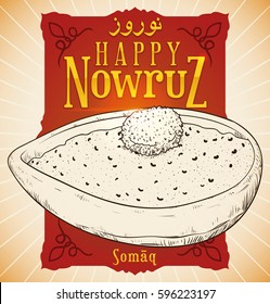 Poster with hand drawn design of Sumac powder in a bowl that represents the spice of life and the sunrise colors over red label with golden text for Nowruz (written in Persian) celebration.