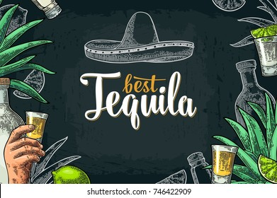 Poster with hand holding glass, bottle, salt, agave, lime whole and slice. Best Tequila lettering Vintage color and white vector engraving illustration on dark background.