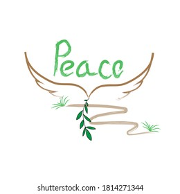 Poster with hand lettering of International Day of Peace. Vector hand drawn illustration of dove with a palm branch on white background. Holiday card with calligraphy