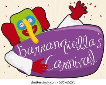 Poster with happy marimonda (traditional Colombian disguise) with confetti celebrating  Barranquilla's Carnival in guacherna night parade.