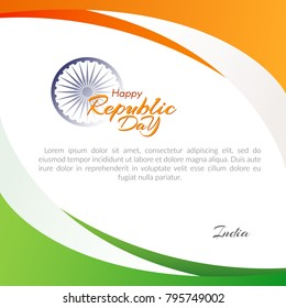 Poster of the Happy Republic Day in India on January 26 Template with text and flowing lines of colors of the national flag of India Element for the design of postcards cards banners posters Vector