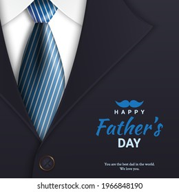 Poster Hari Ayah atau templat spanduk dengan dasi dan kostum. Untuk Hari Ayah dalam gaya 3d Promosi dan templat belanja untuk ayah cinta