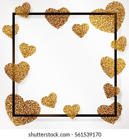Poster with heart of gold confetti, sparkles, golden glitter and lettering Happy Valentines Day in black frame, border on white background. Vector illustration.