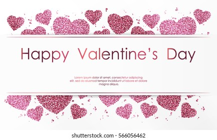 Poster with hearts from pink confetti, sparkles, glitter and lettering Happy Valentines Day on white background. Wallpaper for Valentines Day. Vector illustration.