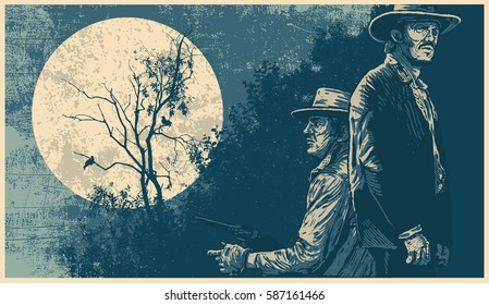 Poster with heroes of westerns and silhouette dry tree, two crows and full moon. linocut style. vector illustration