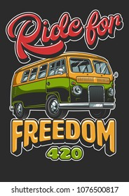 Poster with hippie vintage bus vintage style. Vector illustration