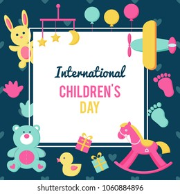 A poster for the holiday International Children's Day. Image with text. Congratulatory inscription. Multicolored toys, children's items. Bright design for banner design, invitation, greeting card.