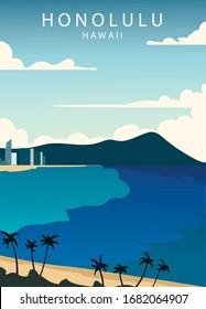 Poster Honolulu landscape. Honolulu vector illustration.