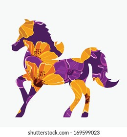 Poster Horse - symbol of New Year 2014.Vector illustration.