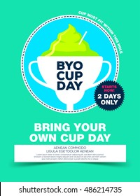 Poster with ice cream in goblet, byo cup day.