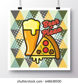 Poster with icon Beer and Pizza on a vintage pattern background. Vector illustration for wallpaper, flyers, invitation, brochure, greeting card, menu.