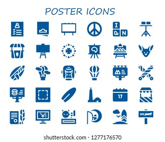 poster icon set. 30 filled poster icons. Simple modern icons about  - Register, Flyer, Billboard, Peace sign, Periodic table, Stand, Canvas, Saint Patrick, Artboard, Fennec, Surfboard
