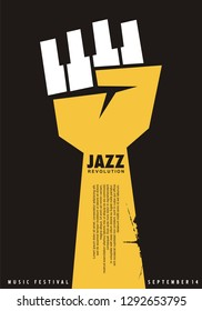 Poster idea for jazz festival. Unique creative music concept with fist shape and piano keys. Jazz concert vector flyer.