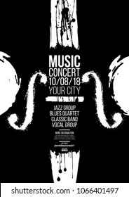 Poster idea for music event, with symbols of the violin or double bass instrument. Symbols with spots. Of artistic background. grunge style. Vector illustration