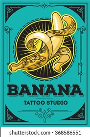 Poster illustration of a banana tattooed in retro style on a green background