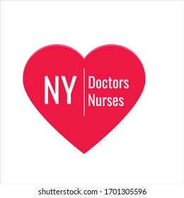 "poster, illustration with the inscription ""NY love doctors and nurses"" for the kindness of people"