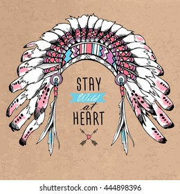 Poster with image of a Indian Feather Headdress. Vector illustration.