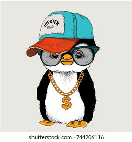 The poster with the image penguin portrait in hip-hop hat. Vector illustration.