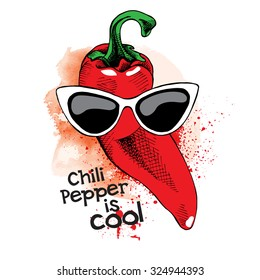 Poster with image of a red hot pepper in sunglasses. Vector illustration.