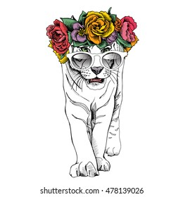 Poster with image of a white tiger in a bright Floral head wreath and in a sunglasses. Vector illustration.