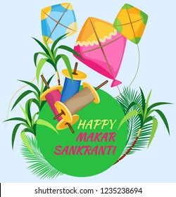Poster for the Indian holiday Makar Sakranti with kites, coils of colored twine and cane. Green circle with the inscription. And all this on a pastel blue background. Vector illustration