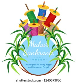 Poster for the Indian holiday Makar Sakranti with kites, coils of colored twine and cane. Light blue circle with the inscription. And all this on a transparent background. Vector illustration
