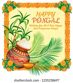 Poster for the Indian holiday Pongal. A painted pot of rice on the background of cane and palm leaves. Frames frame of marigolds on the corners of bouquets. Background poster pastel yellow