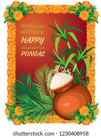 Poster for the Indian holiday Pongal. A pot of rice on the background of cane and palm leaves. Frames frame of marigolds on the corners of bouquets. Background poster orange burgundy gradient