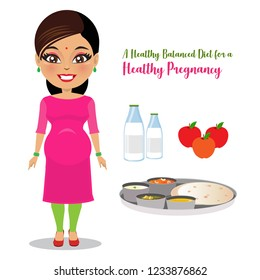 A poster of an Indian pregnant woman standing next to an ideal wholesome diet for her consisting of fruits, milk and Indian home made food with flatbread (roti), carrot pudding (halwa), curried veggie