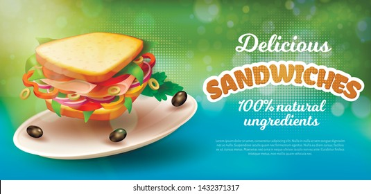 Poster Inscription Delicious Sandwiches Realistic. 100 Percent Natural Ingredients. On Flat Round Dish Lies Sandwich with Vegetables and Ham. Closeup Delicious Sandwich. Vector Illustration.