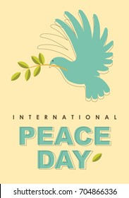 Poster for International Day of Peace. Dove with olive branch in retro style