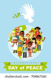 Poster for International Day of Peace. Dove with olive branch and different multi cultural ethnicity children crowd on planet Earth background