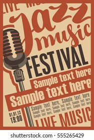 Poster for the jazz music festival with microphone
