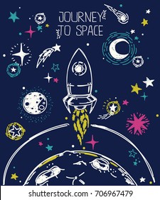 poster for journey to space with sketch stars, rocket, comets and planets, can be used for cosmic party or for space exploration program, vector illustration