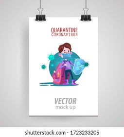 Poster of a Kid Boy Wearing Protective Mask Protecting Him from Virus from Sick and Coughing People. Poster isolated on white space . Vector illustration.