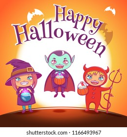 Poster with kids in costumes of witch, vampire and devil for Happy Halloween party. On orange background with full moon.